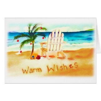 ビーチの水彩画のクリスマスカード カード