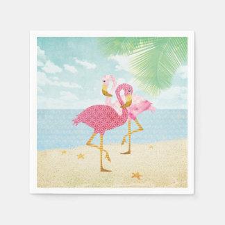 ビーチの水彩画のピンクのフラミンゴ スタンダードカクテルナプキン