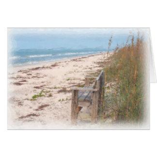 ビーチの水彩画の絵画のベンチ カード