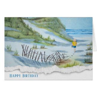 ビーチの水彩画の誕生日子供 カード