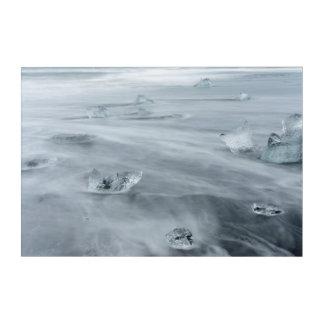 ビーチの氷そして水、アイスランド アクリルウォールアート