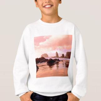 ビーチの沿岸日没の顔の石Bandon スウェットシャツ