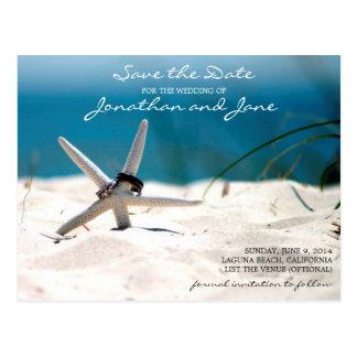 ビーチの海のリングのヒトデの結婚式の保存日付 ポストカード