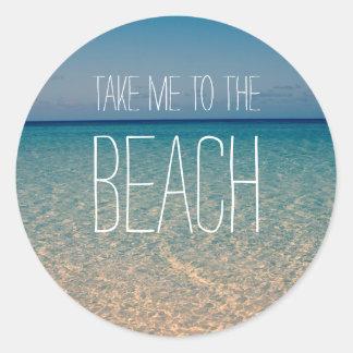 ビーチの海の夏の青空の砂に私を連れて行って下さい ラウンドシール
