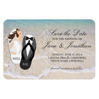 ビーチの海の熱帯結婚式のデラックスな保存日付 マグネット