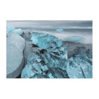 ビーチの海景の青い氷、アイスランド アクリルウォールアート