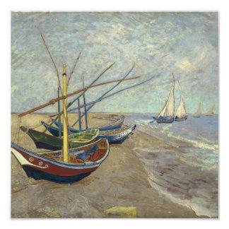 ビーチの漁船 フォトプリント