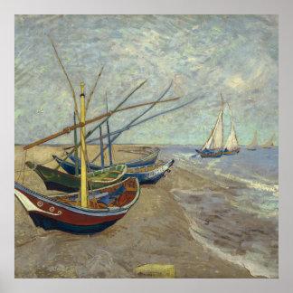 ビーチの漁船 ポスター