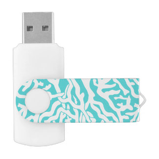 ビーチの珊瑚礁パターン航海ので白い青 USBフラッシュドライブ