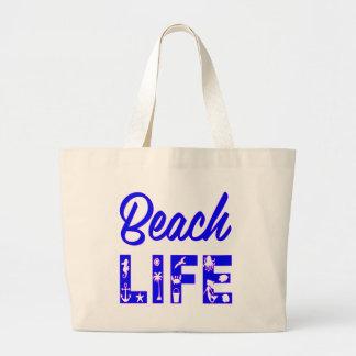 ビーチの生命FB.com/USAPatriotGraphicsの© ラージトートバッグ