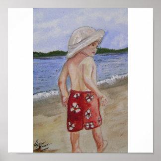 ビーチの男の子 ポスター