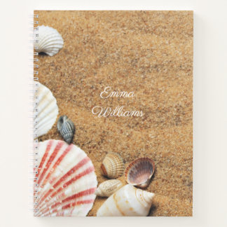 ビーチの砂のエキゾチックな海は写真撮影を殻から取り出します ノートブック