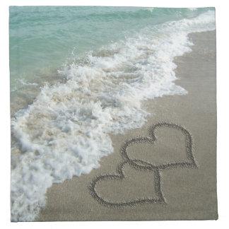 ビーチの砂のハート ナプキンクロス