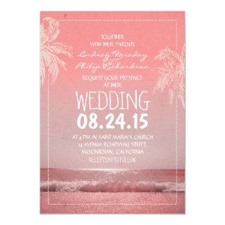 ビーチの砂の海の波及びやし結婚式招待状 カード