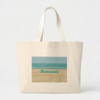 ビーチの砂の海場面新婦付添人のバッグ ラージトートバッグ