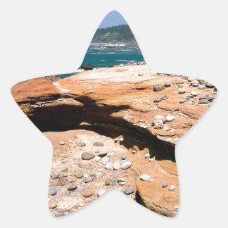 ビーチの砂岩腐食のカワウソの路傍 星シール