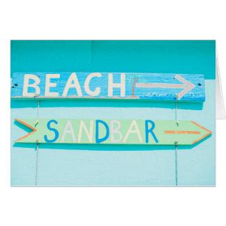 ビーチの空白のなメッセージカード カード