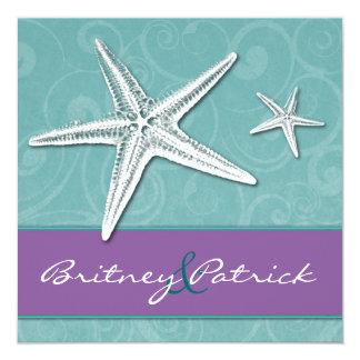ビーチの紫色及び水のヒトデの結婚式招待状 カード