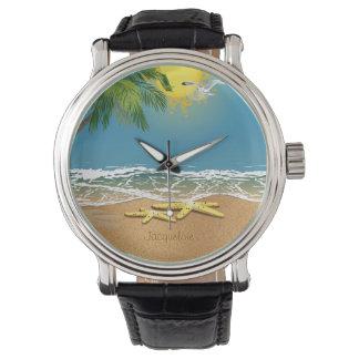 ビーチの腕時計のカップルのヒトデ 腕時計