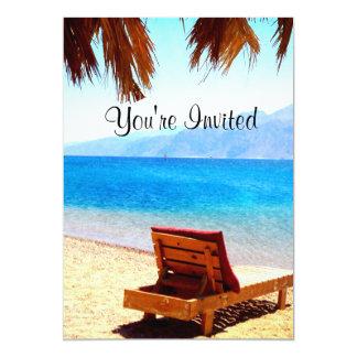 ビーチの自然のオーシャンブルー水招待 カード