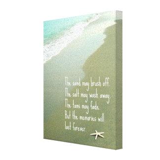 ビーチの記憶は引用します永久に持続します キャンバスプリント