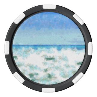 ビーチの近くの白い泡立った水 ポーカーチップ