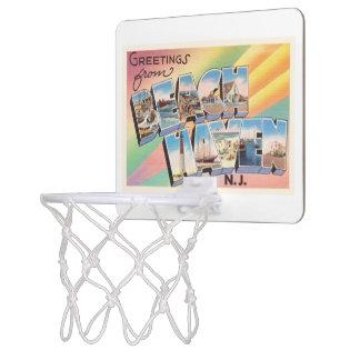 ビーチの避難所のニュージャージーNJのヴィンテージ旅行郵便はがき ミニバスケットボールゴール