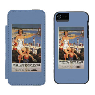 ビーチの鉄道ポスターの母及び息子 INCIPIO WATSON™ iPhone 5 財布 ケース