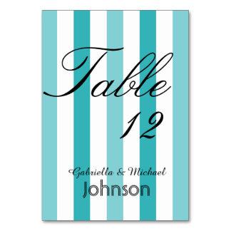 ビーチの青いターコイズのストライプなテーブル数 カード