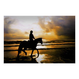 ビーチの馬のライダー ポスター