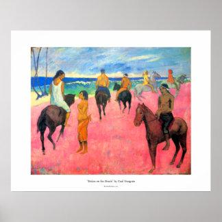 ビーチの騎手の馬の芸術のポール・ゴーギャンのライダー ポスター
