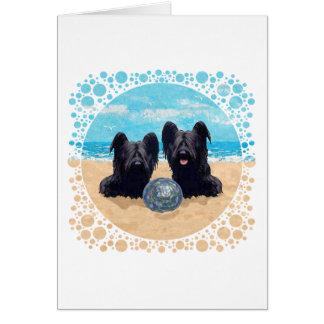 ビーチの2匹のSkyeテリア カード