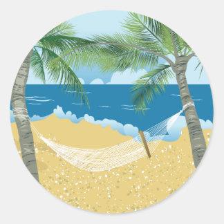 ビーチの~の熱帯ビーチのハンモックの休暇 ラウンドシール