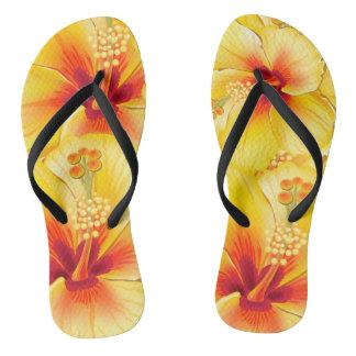 ビーチはフロップ熱いオレンジ花柄を呼びましたり、弾きます ビーチサンダル