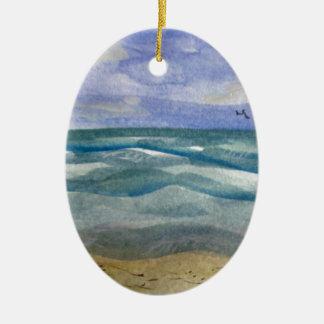 ビーチは水彩画を振ります セラミックオーナメント