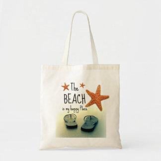 ビーチは私の幸せな場所のビーチサンダルのバッグです トートバッグ