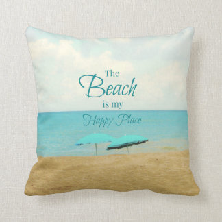 ビーチは私の幸せな場所の写真の枕です クッション