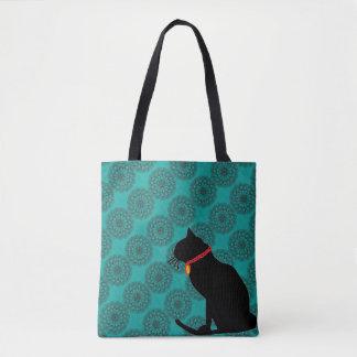 ビーチまたはショッピングのためのシックな水の黒猫のバッグ トートバッグ
