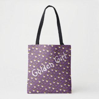 ビーチまたはショッピングのためのシックな金ゴールドの点の薄紫のバッグ トートバッグ