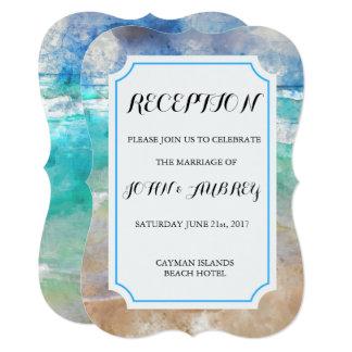 ビーチまたは島の水彩画の結婚披露宴 カード