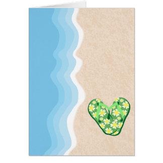 ビーチカードの緑の花のビーチサンダル カード