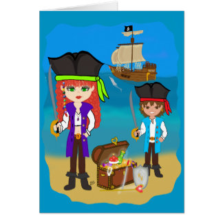 ビーチカードの船を持つ女の子および男の子の海賊 カード