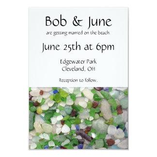 ビーチガラスの結婚式招待状 カード