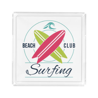 ビーチクラブサーフィンの皿 アクリルトレー