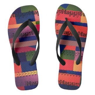 ビーチサンダルカラフルで幸せな足のブロックの芸術の ビーチサンダル