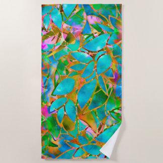 ビーチタオルの花柄の抽象芸術のステンドグラス ビーチタオル
