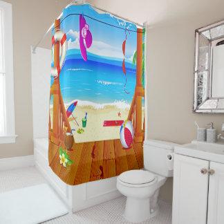 ビーチハウスの楽園の島のoceanviewの休暇 シャワーカーテン