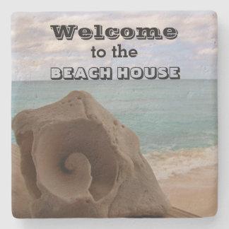 ビーチハウスの歓迎の貝殻の航海のな海 ストーンコースター