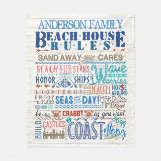 ビーチハウスは沿岸家族のコテージ|のカスタムを支配します フリースブランケット