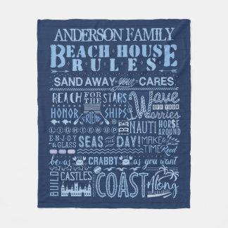 ビーチハウスは沿岸濃紺のカスタム家族を支配します フリースブランケット
